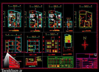 نقشه های معماری و سازه ای ساختمان مسکونی 3 طبقه بتنی