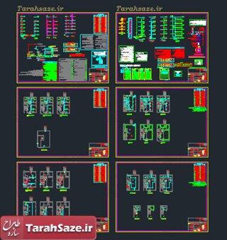 نقشه های تاسیسات الکتریکی و مکانیکی 4 طبقه روی پیلوت