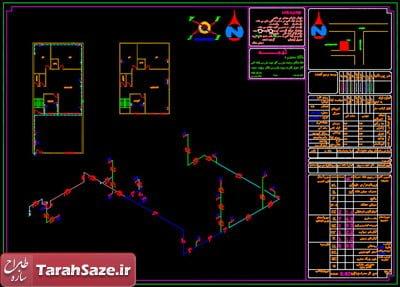 نقشه گاز 2 طبقه مسکونی