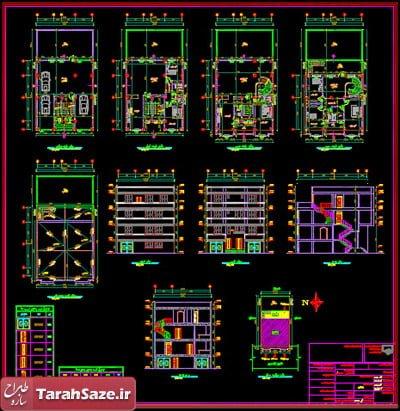 نقشه های ساختمان 4 طبقه 11.7 در 14.35 متر