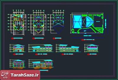 نقشه معماری رستوران 17 در 25 متر