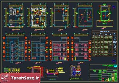 نقشه معماری ساختمان 4 طبقه 9 در 13 متر
