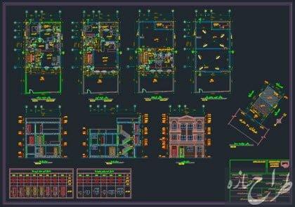 نقشه معماری و سازه 2 طبقه با بهار خواب 10 در 13 متر