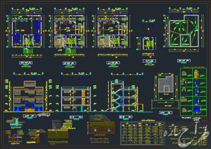 نقشه معماری ساختمان 3 طبقه 12 در 13 متر