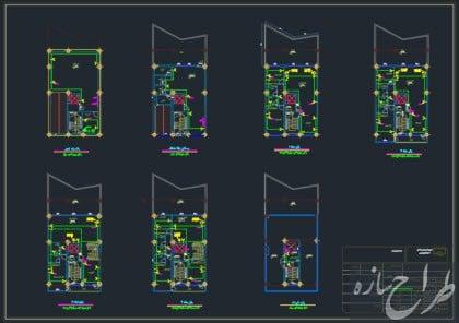 نقشه تاسیسات الکتریکی ساختمان 5 طبقه با زیرزمین