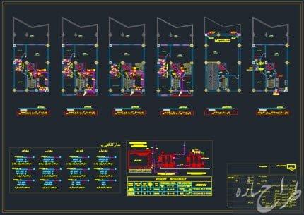 نقشه تاسیسات مکانیکی ساختمان 5 طبقه با زیرزمین