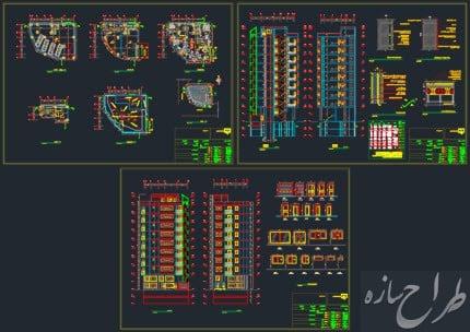 اتوکد نقشه معماری آپارتمان 9 طبقه با 2 طبقه زیرزمین دو نبش