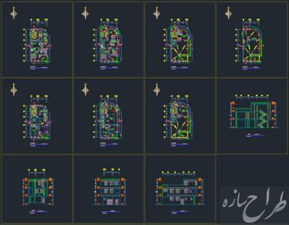 اتوکد نقشه معماری ساختمان 2 نبش 3 طبقه با بر 7 متر