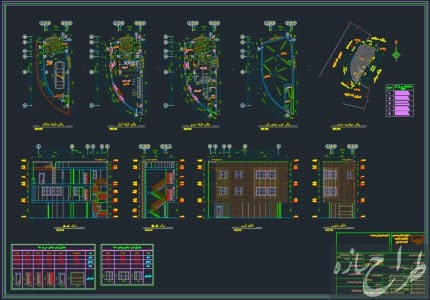 اتوکد نقشه معماری ساختمان مسکونی دو نبش 2 طبقه روی پیلوت