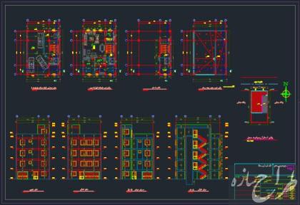 اتوکد پلان های معماری 3 طبقه مسکونی روی پیلوت