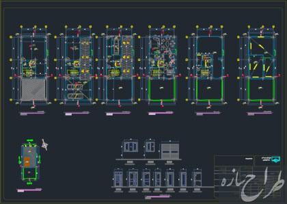 نقشه معماری ساختمان 5 طبقه دارای 2 طبقه زیرزمین