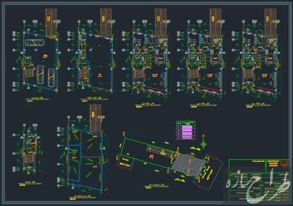 نقشه معماری 5 طبقه مسکونی و تجاری 10 در 15 متر
