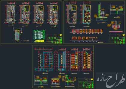 اتوکد نقشه معماری ساختمان 6 طبقه با زیرزمین با بر 10 متر
