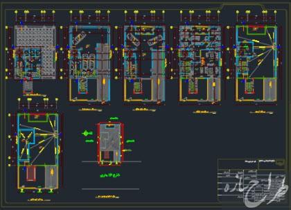 اتوکد نقشه معماری ساختمان شمالی 8 طبقه با 2 طبقه زیرزمین