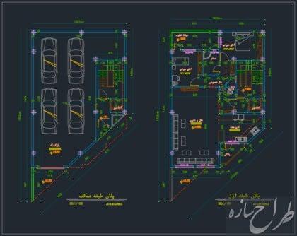 نقشه پلان معماری ساختمان مسکونی 2 طبقه