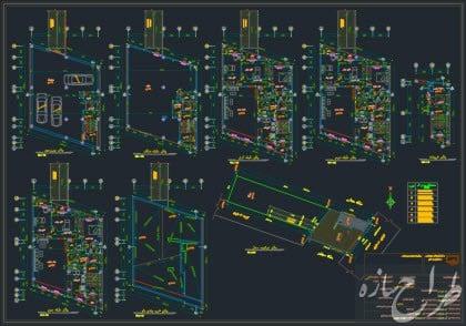 نقشه پلان های معماری 4 طبقه با زیرزمین 13 در 15 متر