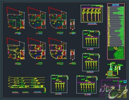 اتوکد نقشه الکتریکی ساختمان مسکونی 4 طبقه دو نبش