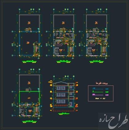 نقشه پلان های معماری ساختمان 4 طبقه 10 در 12